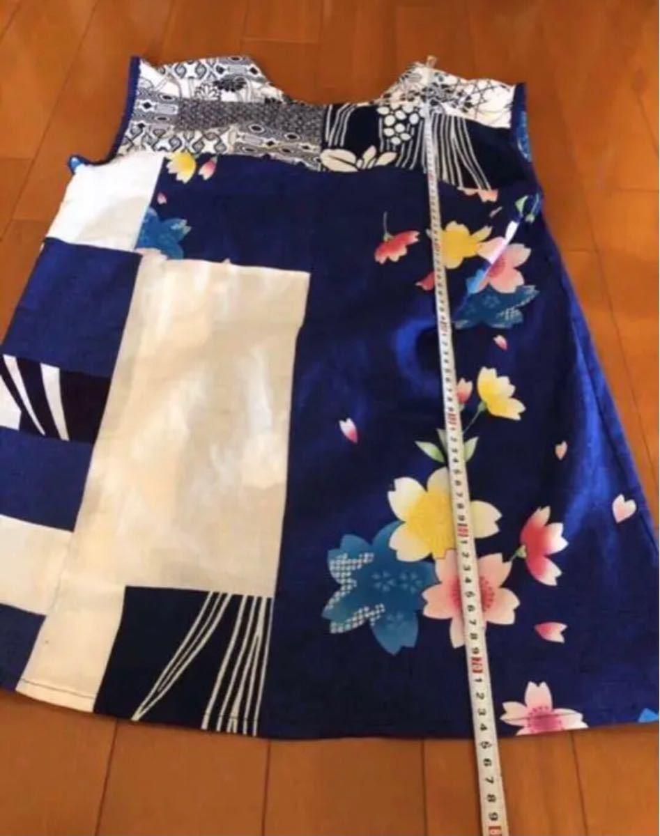 着物リメイク浴衣利用ドルマンノースリーブチュニックワンピースS-Mサイズ
