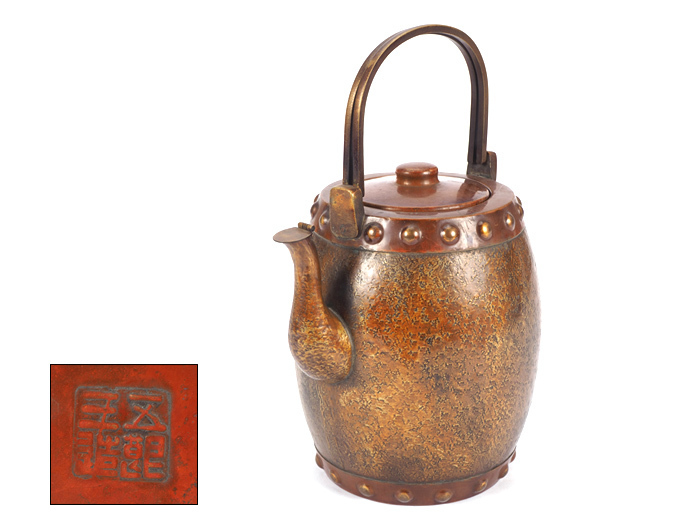 【夢工房】金谷 五郎三郎 造 銅製 割手 太鼓胴 煎茶 水注 在印 重さ628g 高さ25.2㎝   OA-463