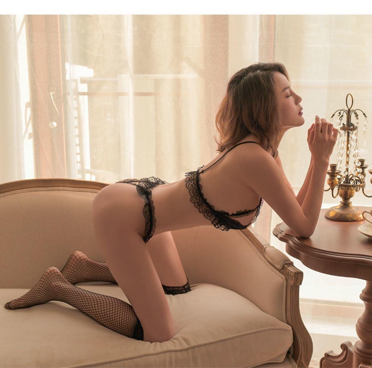 過激 セクシーランジェリー ベビードール シースルー エロ可愛い コスプレ♪♪誘惑胸綺麗見せる超可愛いストッキング付きコスプレ