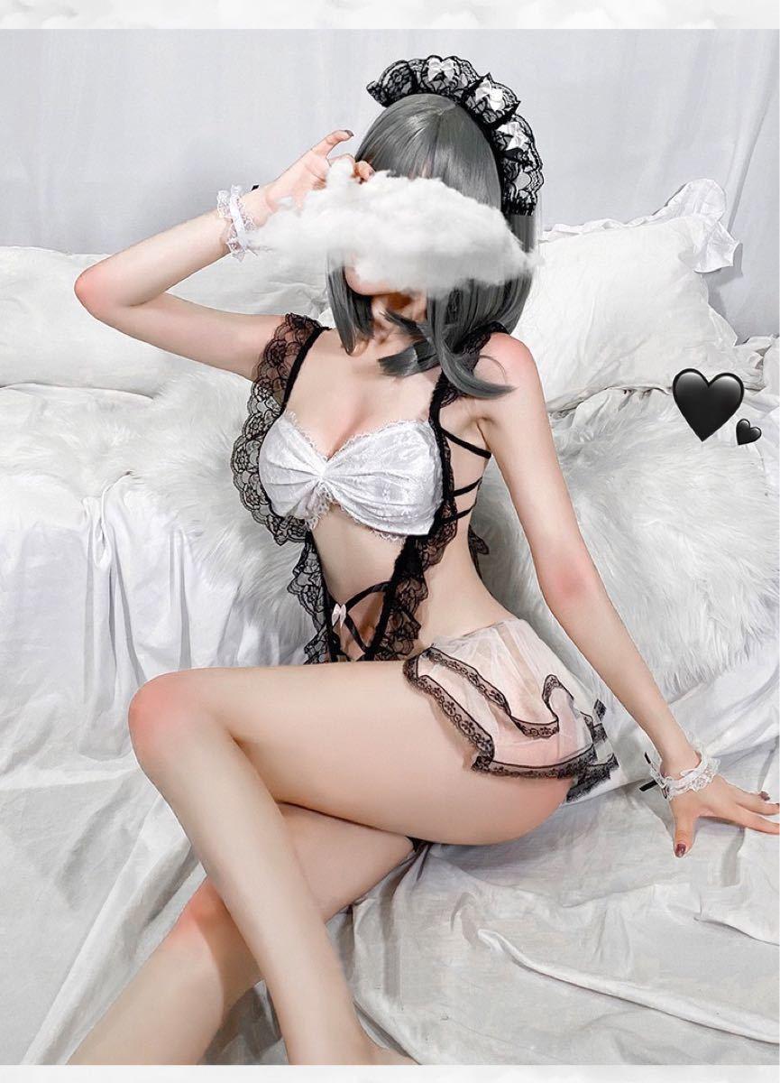 セクシーランジェリー コスプレ メイド服 穴あき下着 ベビードール