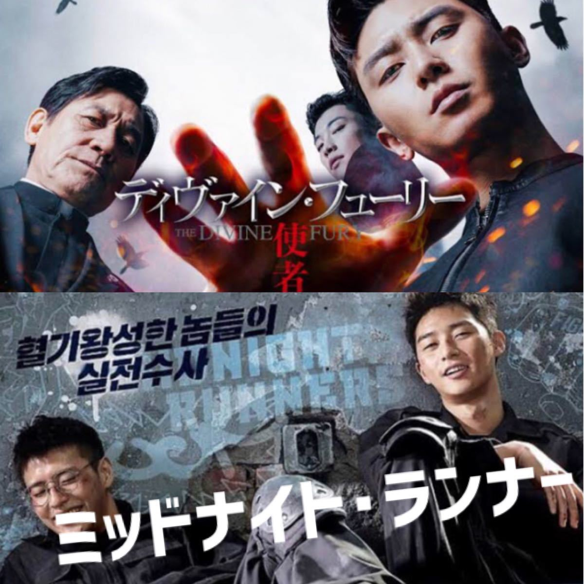 韓国映画  ミッドナイト・ランナー  ディヴァイン・フューリー  パク・ソジュン  DVD  2点セット  レーベル有り