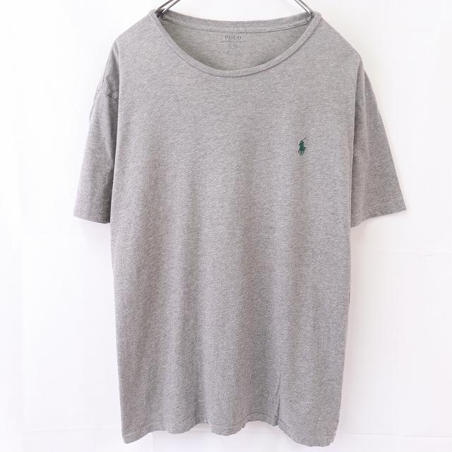 ラルフローレン Tシャツ XL グレー 緑 ワンポイント POLO RALPH LAUREN 半袖 クルーネック メンズ 古着 中古 st97_画像1