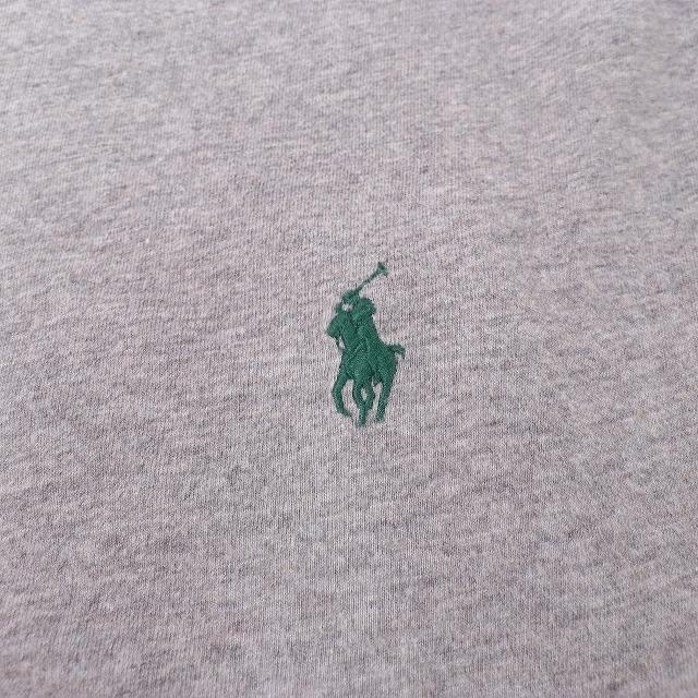 ラルフローレン Tシャツ XL グレー 緑 ワンポイント POLO RALPH LAUREN 半袖 クルーネック メンズ 古着 中古 st97_画像3