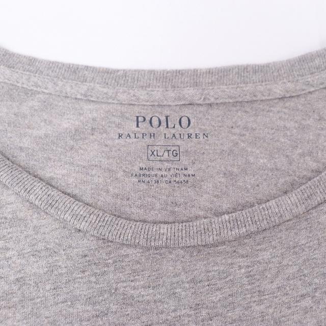 ラルフローレン Tシャツ XL グレー 緑 ワンポイント POLO RALPH LAUREN 半袖 クルーネック メンズ 古着 中古 st97_画像4