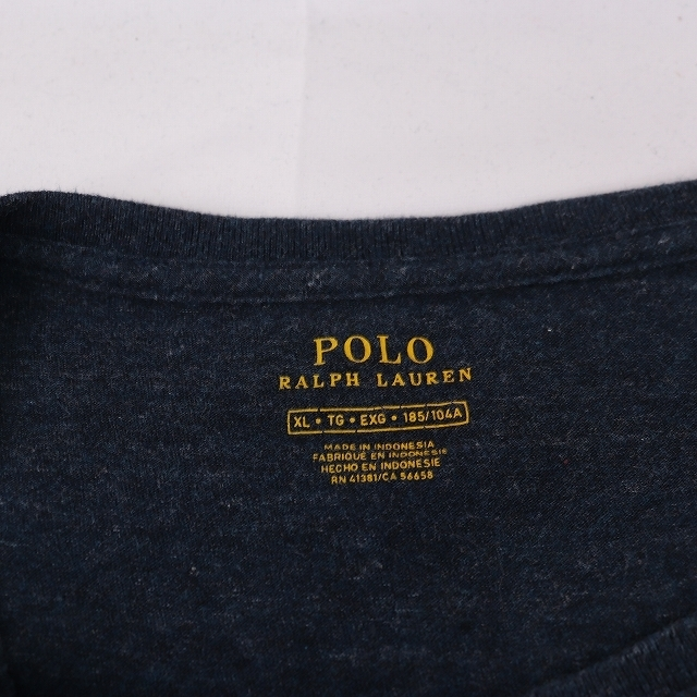 ラルフローレン Tシャツ XL 紺 白 ワンポイント POLO RALPH LAUREN 大きめ 半袖 クルーネック メンズ 古着 st108_画像4