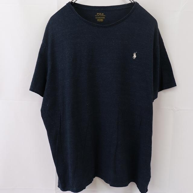 ラルフローレン Tシャツ XL 紺 白 ワンポイント POLO RALPH LAUREN 大きめ 半袖 クルーネック メンズ 古着 st108_画像1