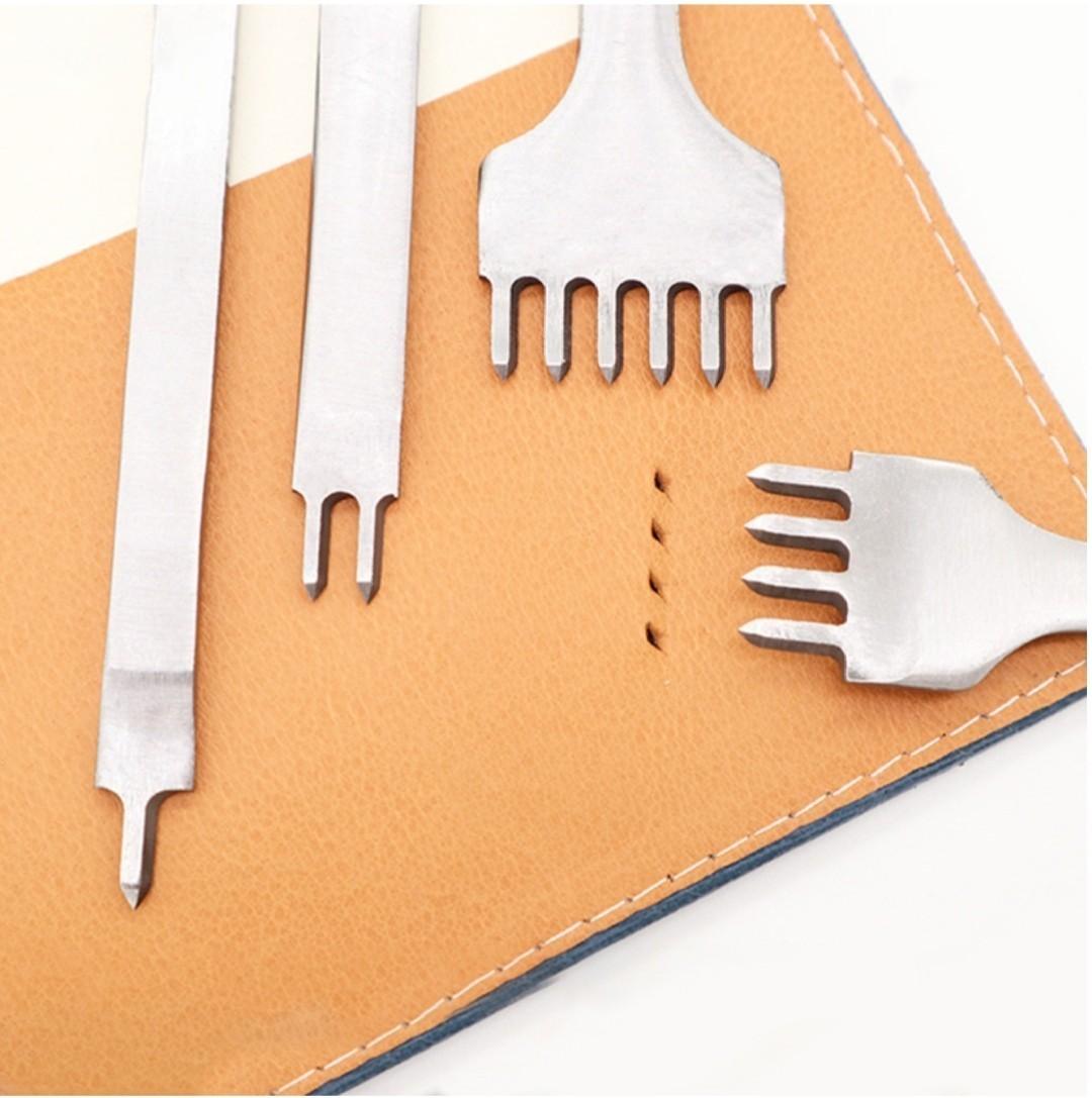 レザークラフト 道具 菱目打ち 4mm 4本 セット 工具  皮革 革 細工