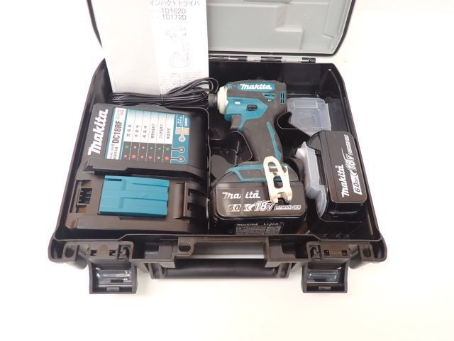 makita マキタ 充電式インパクトドライバ TD172DRGX ブルー 18V 6.0Ah バッテリー2個/充電器/説明書/ケース付き □ 60868-1