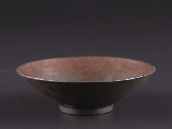 中国古玩 唐物 煎茶道具 古錫造 点銅 款 急須盆 時代物 極上品 初だし品 a8163_画像10