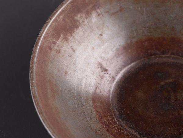 中国古玩 唐物 煎茶道具 古錫造 点銅 款 急須盆 時代物 極上品 初だし品 a8163_画像4