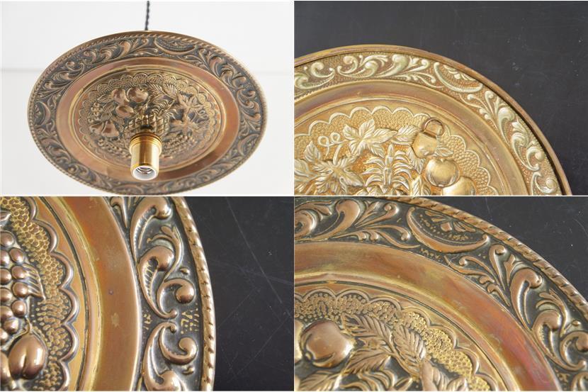 イギリスアンティーク 真鍮製 見上げるランプ Fruits/アート/芸術/吊り下げランプ/照明/アンティークランプ/ブラス/フルーツ/果物_画像10