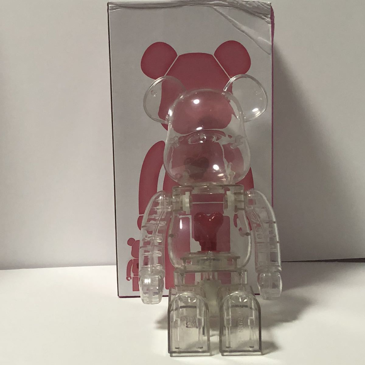 Bearbrick x Emotionally Unavailable Red Heart 400% Clear クリア 透明 ベアブリック BE@RBRICK _画像3