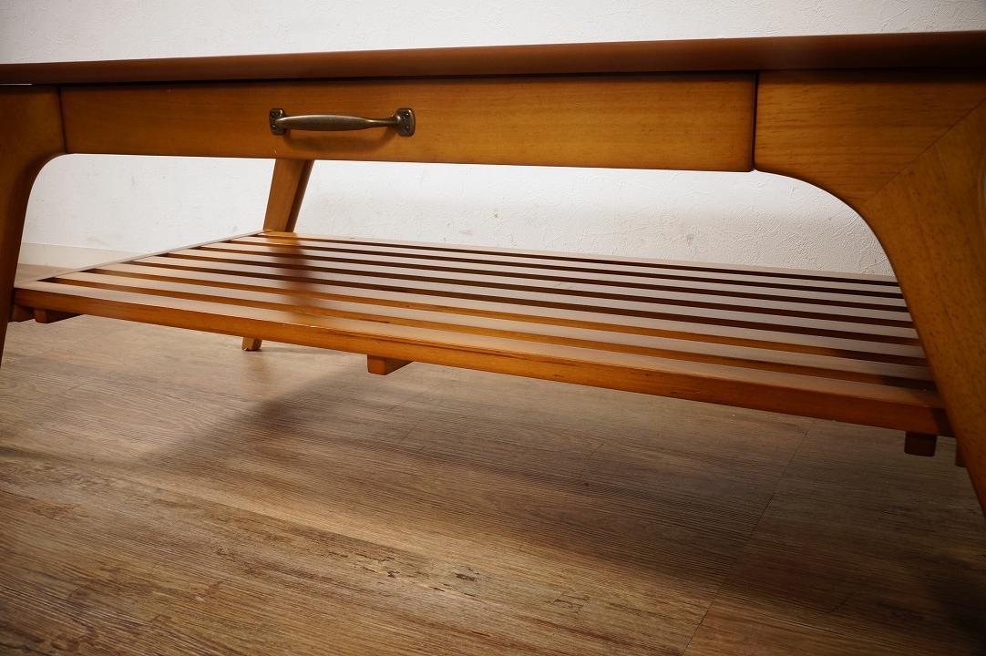 送料無料【新品】天然木 北欧調 棚付 テーブル 幅110㎝ アンティーク 風 アウトレット 家具 FF2101_画像5