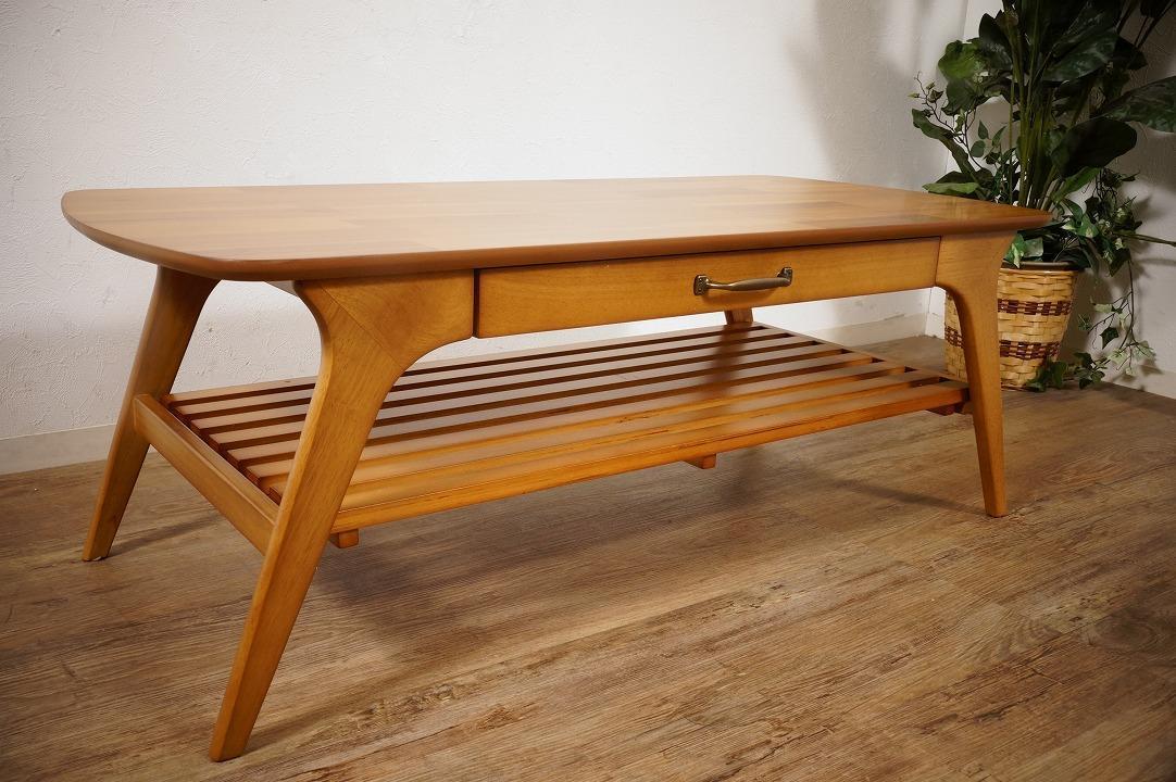送料無料【新品】天然木 北欧調 棚付 テーブル 幅110㎝ アンティーク 風 アウトレット 家具 FF2101_画像1