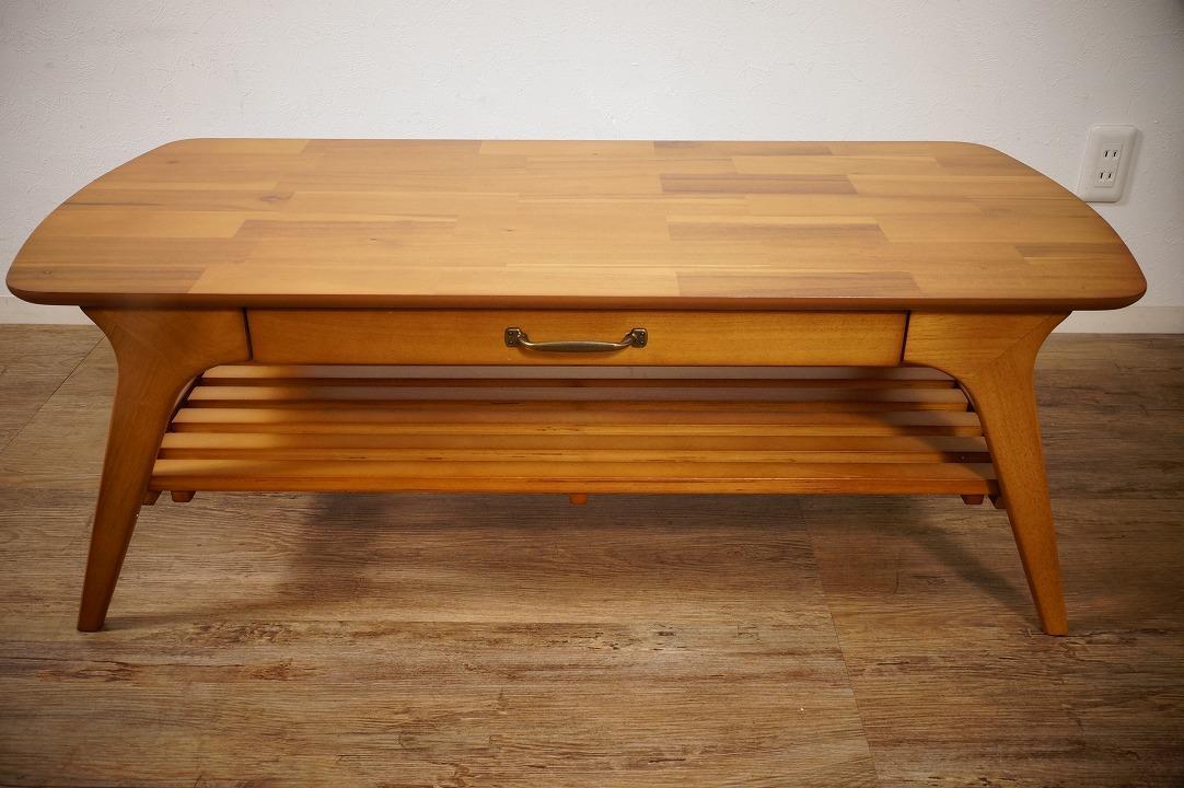 送料無料【新品】天然木 北欧調 棚付 テーブル 幅110㎝ アンティーク 風 アウトレット 家具 FF2101_画像3