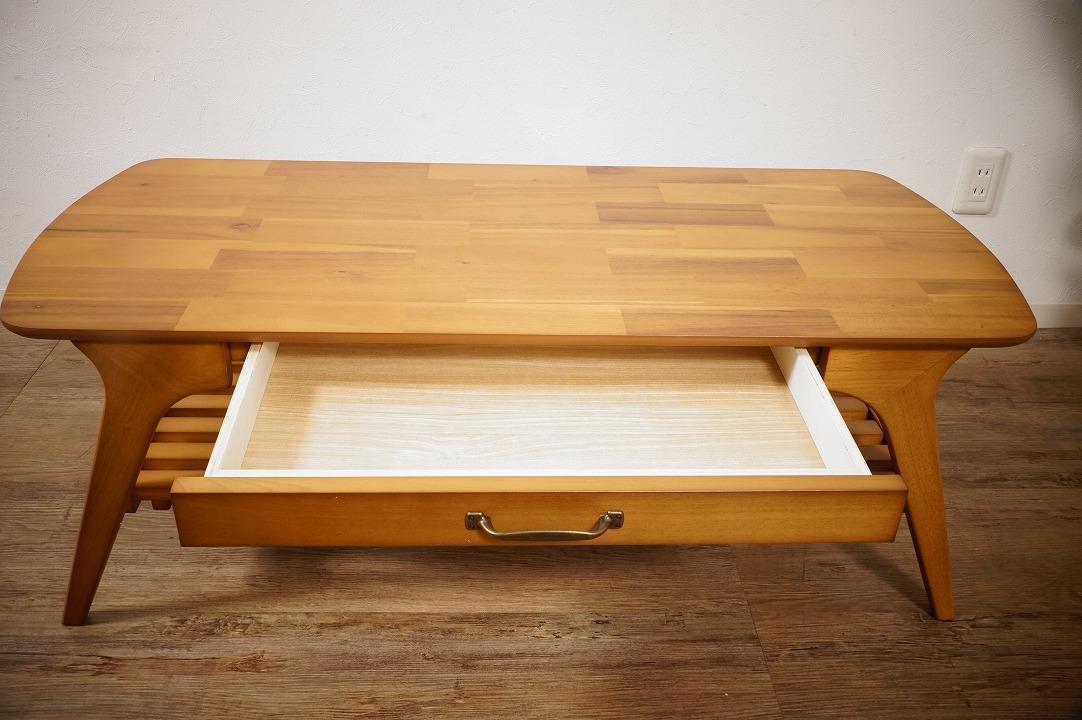 送料無料【新品】天然木 北欧調 棚付 テーブル 幅110㎝ アンティーク 風 アウトレット 家具 FF2101_画像6