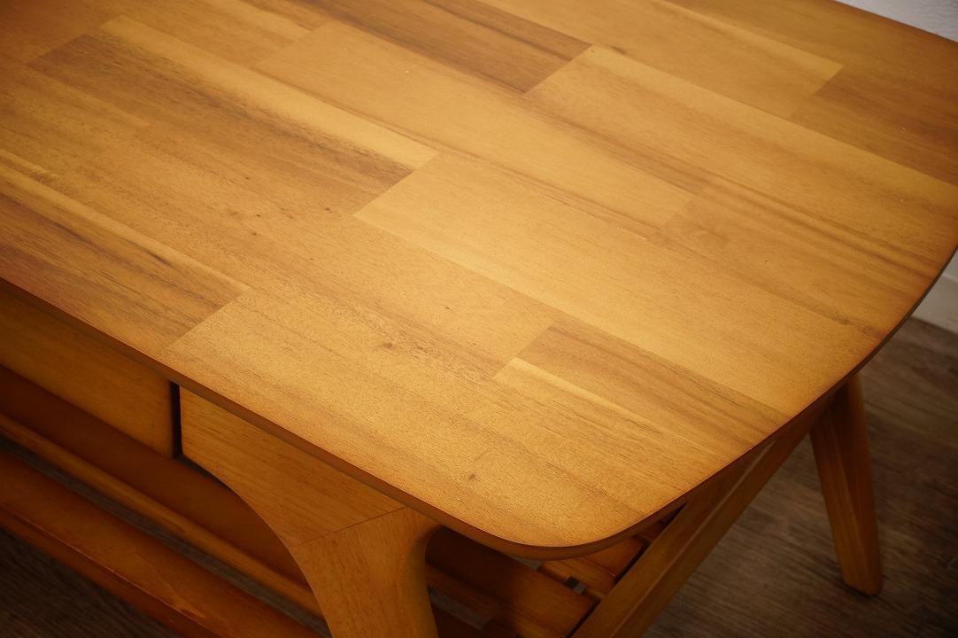 送料無料【新品】天然木 北欧調 棚付 テーブル 幅110㎝ アンティーク 風 アウトレット 家具 FF2101_画像9