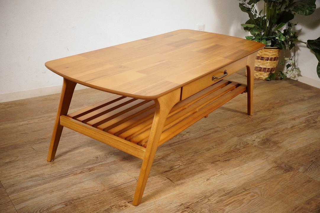 送料無料【新品】天然木 北欧調 棚付 テーブル 幅110㎝ アンティーク 風 アウトレット 家具 FF2101_画像8