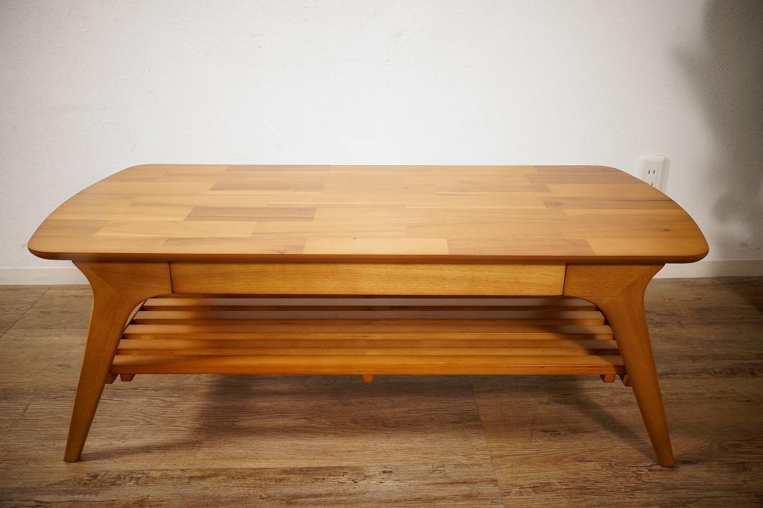 送料無料【新品】天然木 北欧調 棚付 テーブル 幅110㎝ アンティーク 風 アウトレット 家具 FF2101_画像4