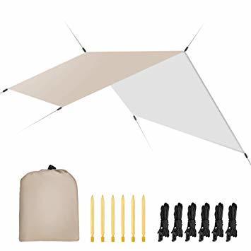 カーキ キャンプ テント Linkax 防水タープ UVカット 天幕シェード タープ テント ポータブル アウトドア 収納袋付き_画像1