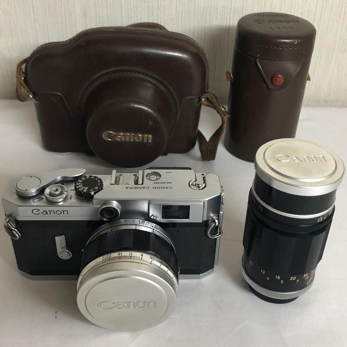 ●キャノンのヴィンテージ カメラ 取替レンズ、革ケース付き●CANON CAMERA No.601059●CANON LENS No.68955 135mm f:3.5●