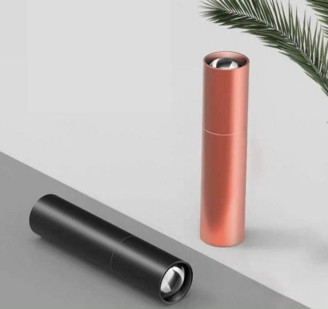 ケーブル付 懐中電灯 led 強力 USB充電式 防水 携帯 防災 ピンク