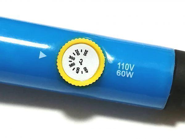 即決【送料無料】ダイヤル式電子はんだごて 9点セット はんだ吸盤 スポイト付き ハンダゴテ 温度調節可能★ 5個交換コテ先付き 60W 110V _画像3