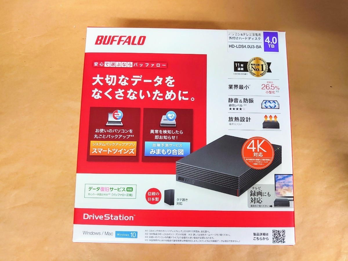 HD-LDS4.0U3-BA バッファロー USB3.1(Gen1)/3.0対応 外付けハードディスク 4TB(ブラック)