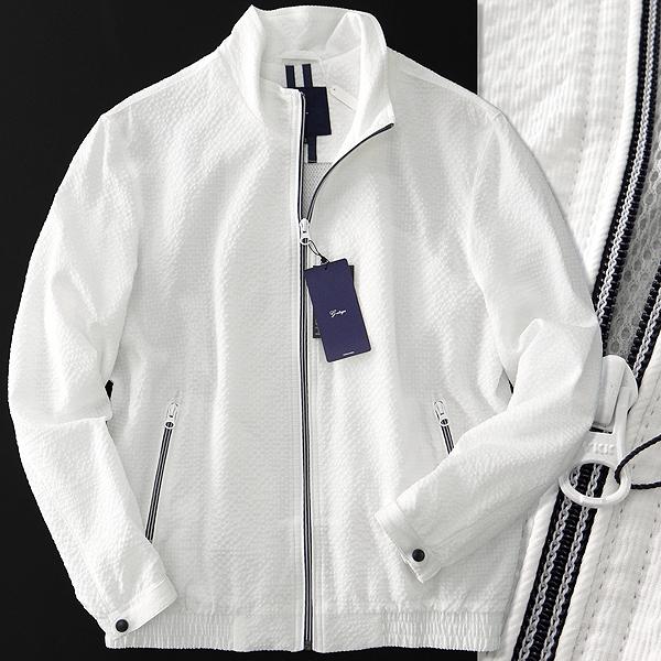 新品 ジーステージ 春夏 ストレッチ シアサッカー ブルゾン 52(XXL) 白 【J46343】 メンズ G-stage サマー スポーツ メッシュ ジャケット