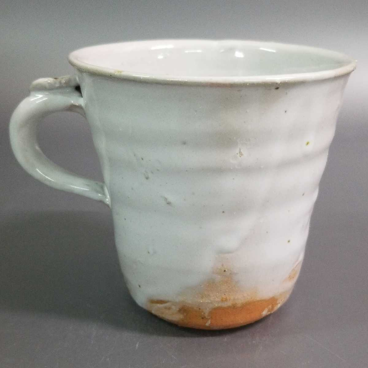 賜72)萩焼 渋谷泥詩 白萩マグカップ 珈琲器 茶器 未使用新品 同梱歓迎 _画像4