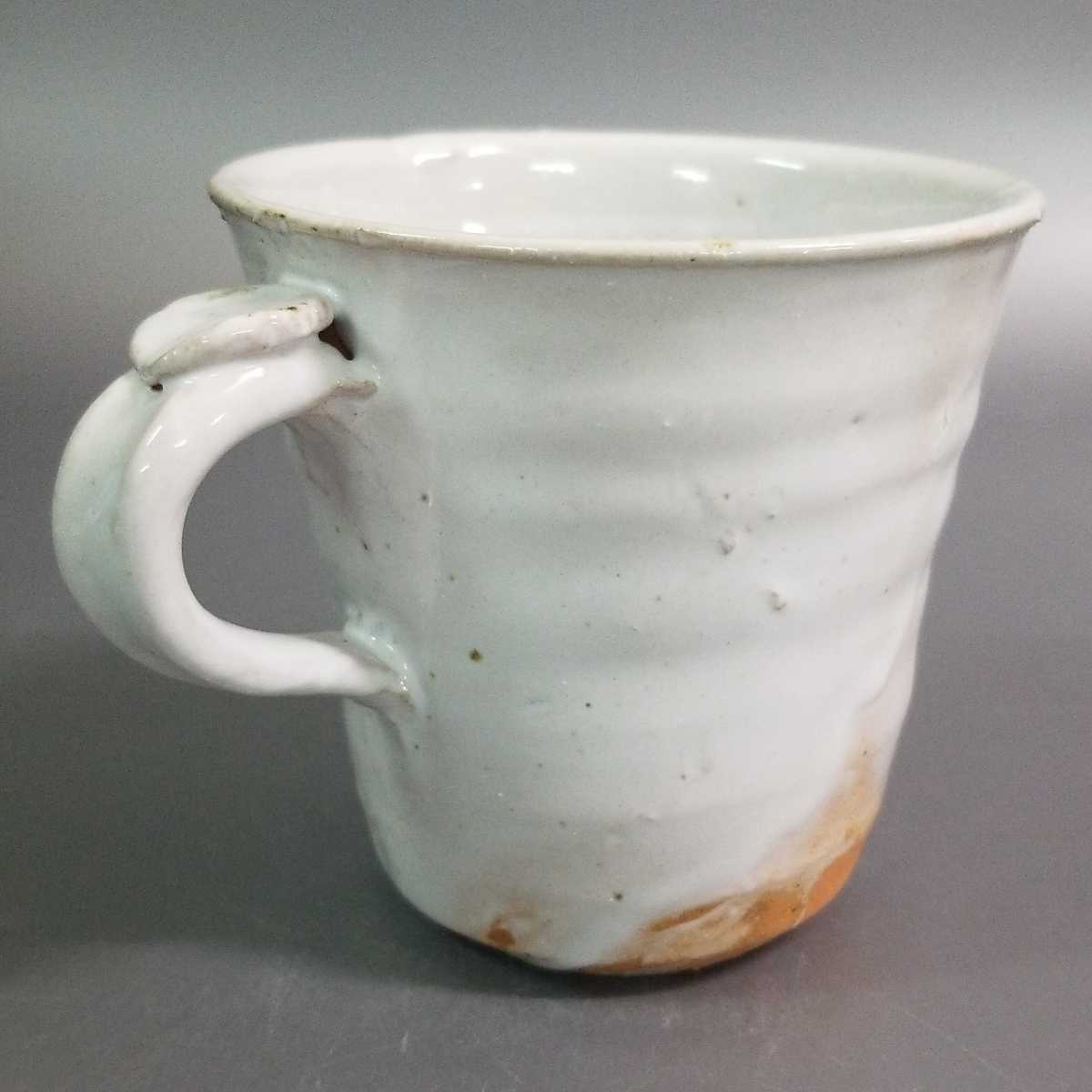 賜72)萩焼 渋谷泥詩 白萩マグカップ 珈琲器 茶器 未使用新品 同梱歓迎 _画像3
