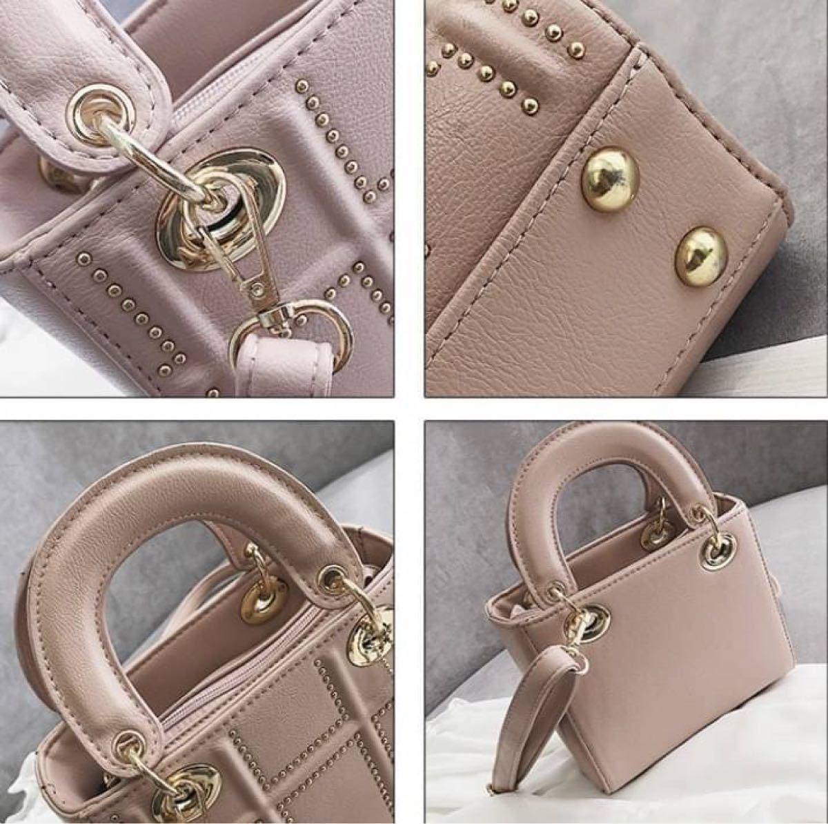 【ピンク】ショルダーバッグ ハンドバッグ ミニサイズ 2way 型押しバッグ チャーム付き 高見え レディースバッグ ノーブランド