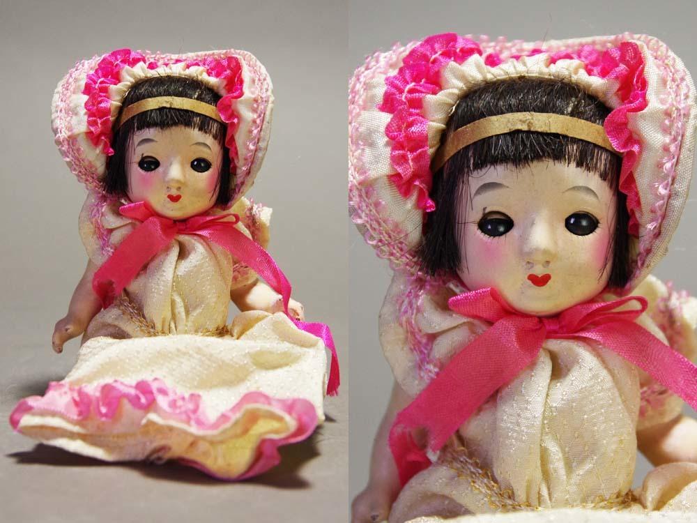 当時物サクラビスクスリーピングドール陶器日本人形スリープアイ眠り人形ビスクベビードール時代玩具人形愛玩人形個人蔵出旧家整理品
