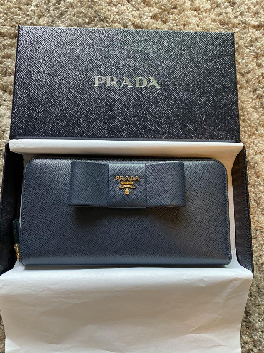 【新品未使用】PRADA プラダ長財布 1ML506 ZTM サフィアーノ レザー メタル レタリング ロゴ リボン