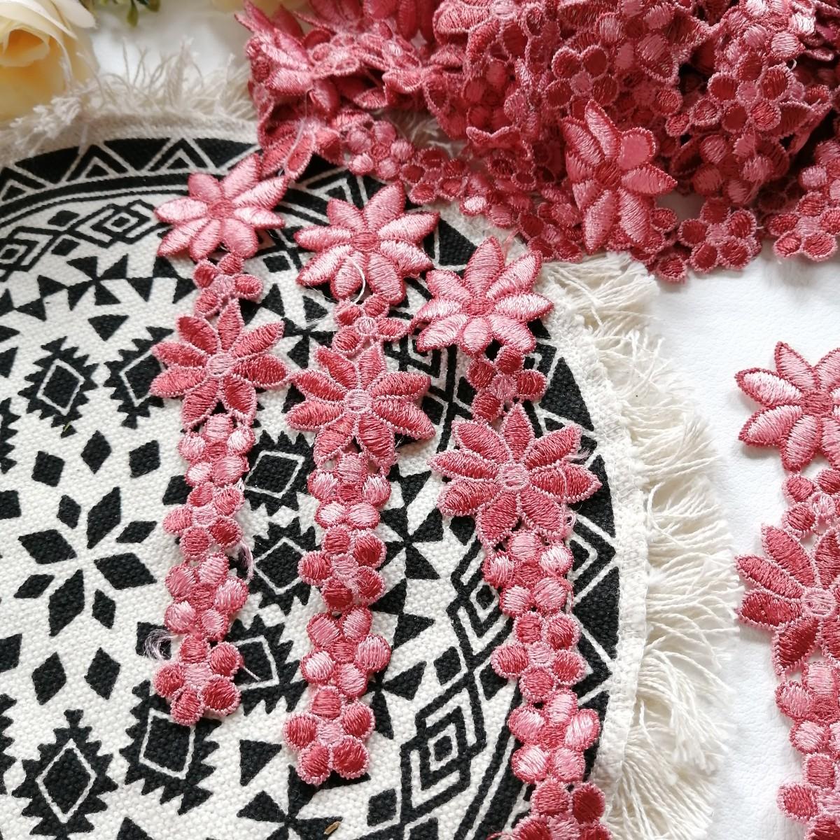 ハンドメイド ワッペン   刺繍 綺麗なワッベン 手作り 花モチーフ お花 1