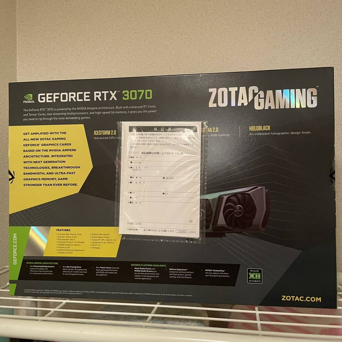 ZOTAC GAMING GeForce RTX 3070 AMP Holo ZT-A30700F-10P [PCIExp 8GB]_画像2