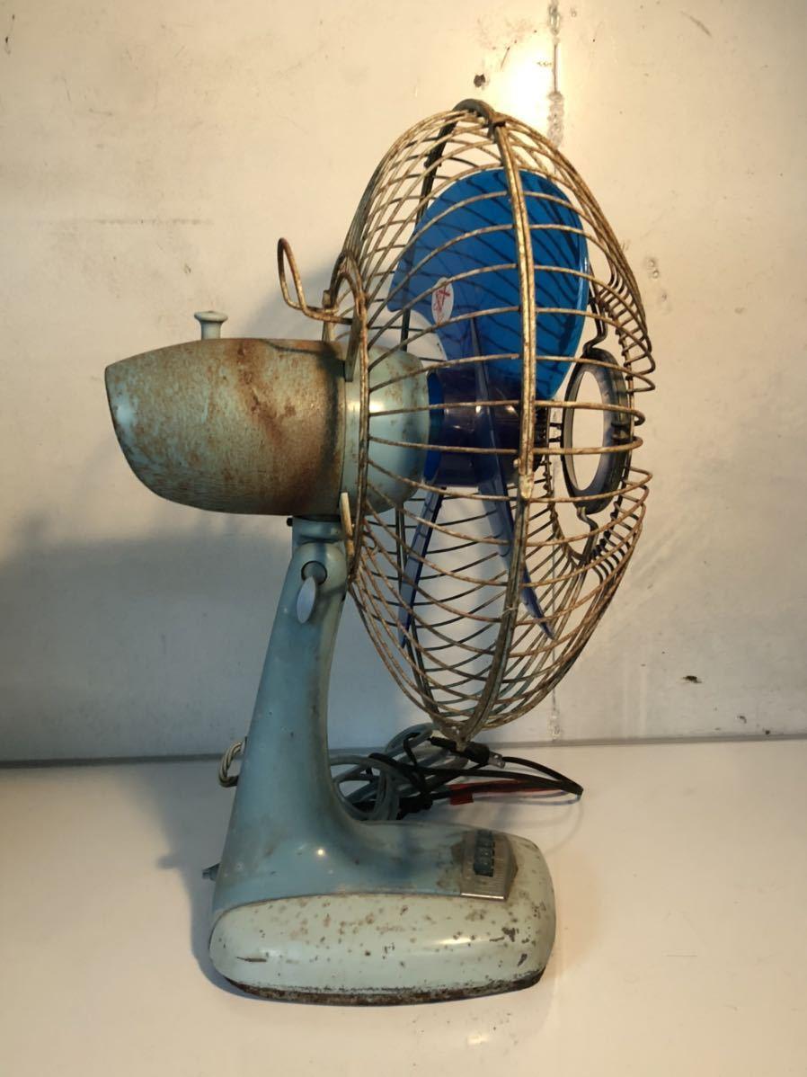 鉄製 昭和レトロ レトロ扇風機 当時物 貴重 アンティーク レア動作確認済み 現状販売(検)富士 ジャパン 日立 U-586_画像2