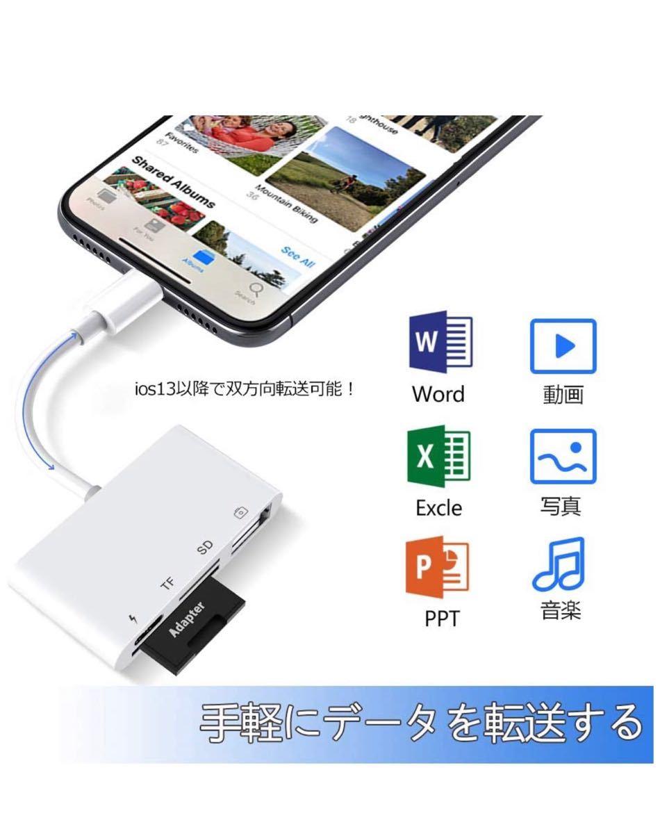 SD カードリーダー 4in1 USB OTGカメラアダプタ 双方向 データ即転送 SD TF カードリーダー Phone 充電