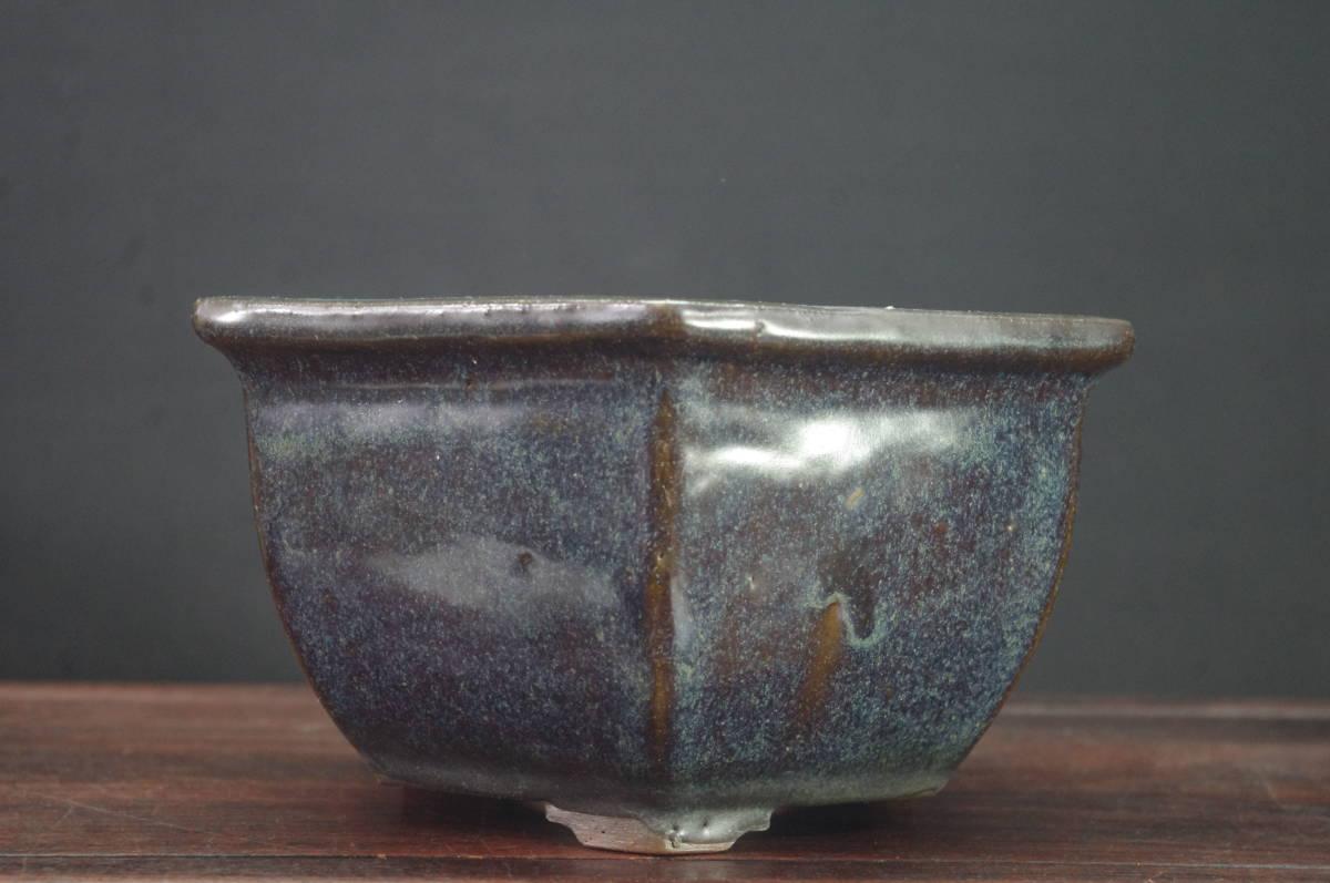 ★盆栽日和★ 中国古盆器 海鼠釉外縁段足六角鉢・中渡り 21㎝