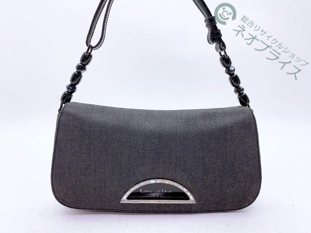 ◆Z8584 Dior ディオール デニム マリスパール ラインストーン ロゴ ショルダー バッグ