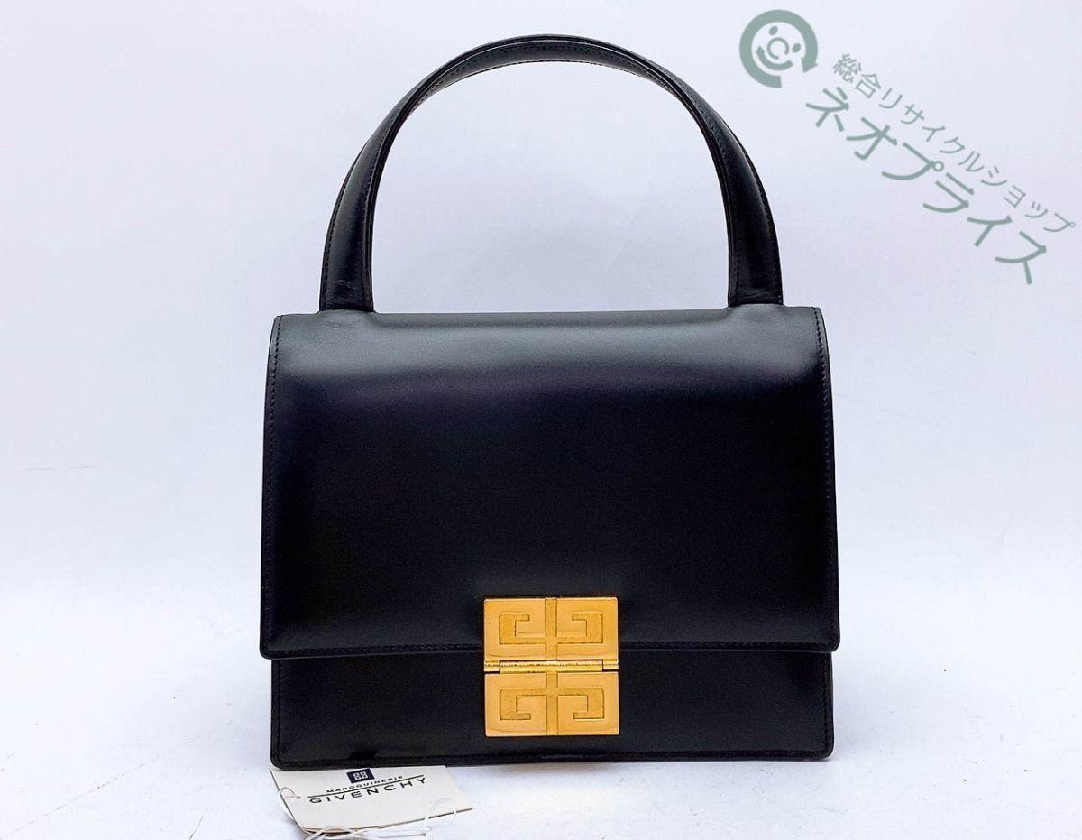 ◆Z8590 GIVENCHY ジバンシー ロゴ金具 レザー ハンド バッグ 美品