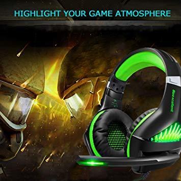 ★2時間限定 ★緑 BlueFire PS4 ヘッドセット ゲーミングヘッドセット ヘッドホン 騒音隔離伸縮可能マイク付 LED_画像2