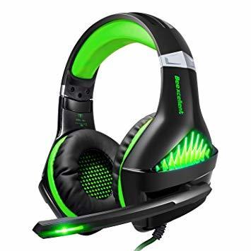 ★2時間限定 ★緑 BlueFire PS4 ヘッドセット ゲーミングヘッドセット ヘッドホン 騒音隔離伸縮可能マイク付 LED_画像1