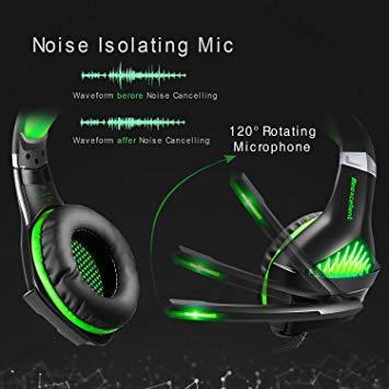 ★2時間限定 ★緑 BlueFire PS4 ヘッドセット ゲーミングヘッドセット ヘッドホン 騒音隔離伸縮可能マイク付 LED_画像3