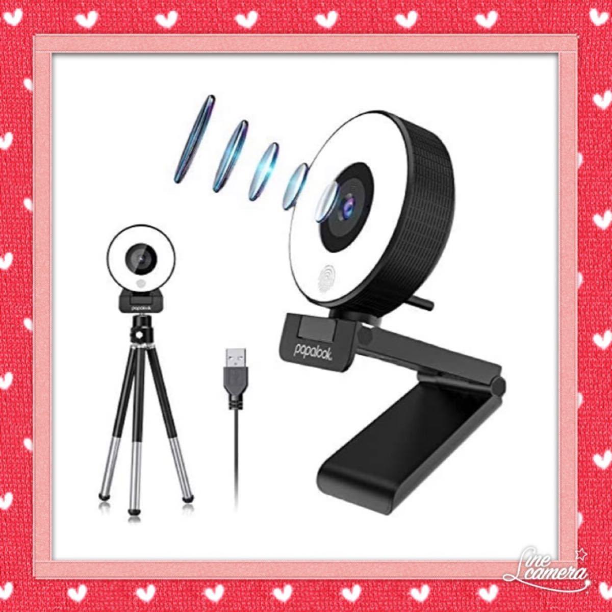 Webカメラ タッチLEDライト付き フルHD1080P 30FPS ウェブカメラ マイク内蔵PCカメラ ノイズリダクション