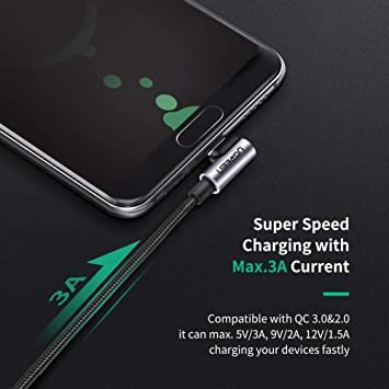1m(2本) UGREEN USB Type C ケーブル L字ナイロン編み 3A急速充電 Quick Charge 3.0/2_画像3