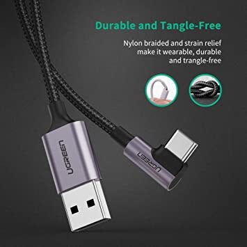 1m(2本) UGREEN USB Type C ケーブル L字ナイロン編み 3A急速充電 Quick Charge 3.0/2_画像7