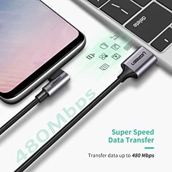 1m(2本) UGREEN USB Type C ケーブル L字ナイロン編み 3A急速充電 Quick Charge 3.0/2_画像4