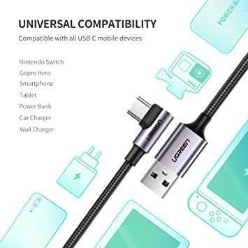 2m(2本) UGREEN USB Type C ケーブル L字ナイロン編み 3A急速充電 Quick Charge 3.0/2_画像5