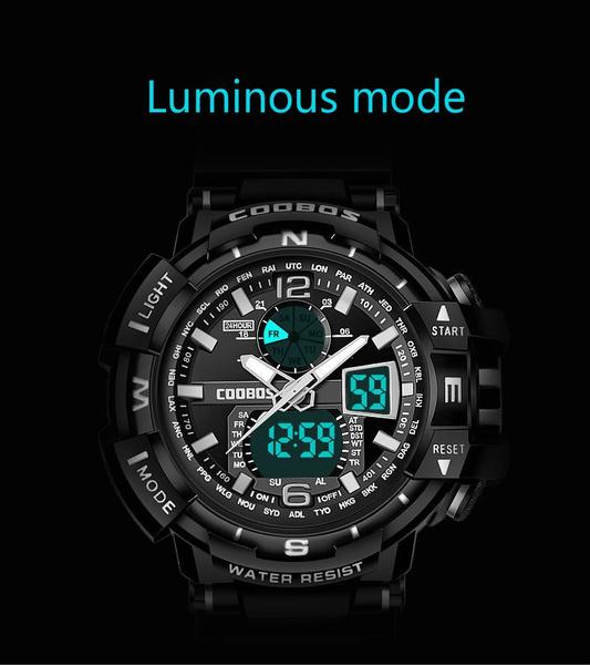 新品海外メーカー COOBOS アナデジ ハイブリット 多機能 日本未販売 ストップウオッチ アラーム LED照明 デジタルカレンダー等々機能充実_画像4